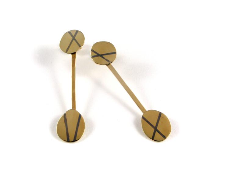 Gold inlay earrings